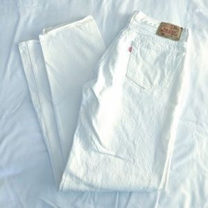Vintage Levi's 501 Buttonfly White Denim Jeans
